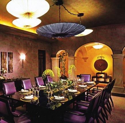 elegant dining room with clustering of multiple umbrella chandeliers - AD via Atticmag