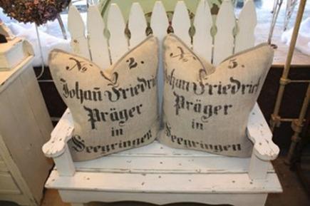vintage european grain sack pillows by 3 fine grains via Atticmag