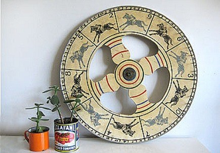 vintage collectibles - wood and metal horse race spinning wheel from carnival game - 3 Potato 4 via Atticmag
