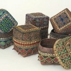 home accessory - handcrafted wedding baskets with vintage beads - Material Possessions via Atticmag