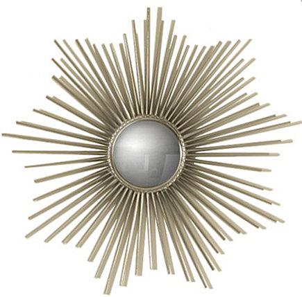 metallic décor - nickel mini sunburst mirror - High Fashion Home via Atticmag