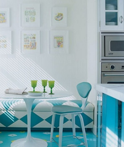 breakfast nook in Diamond Baratta turquoise kitchen via Atticmag