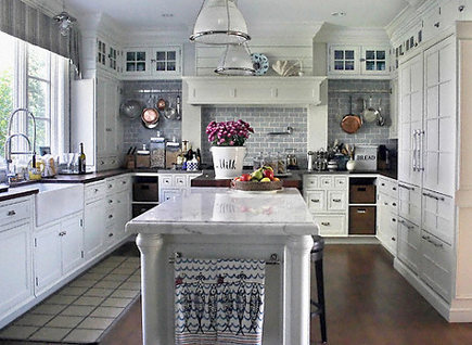 Silver Gray Subway Tile Kitchen - Accent color for grey and white kitchen