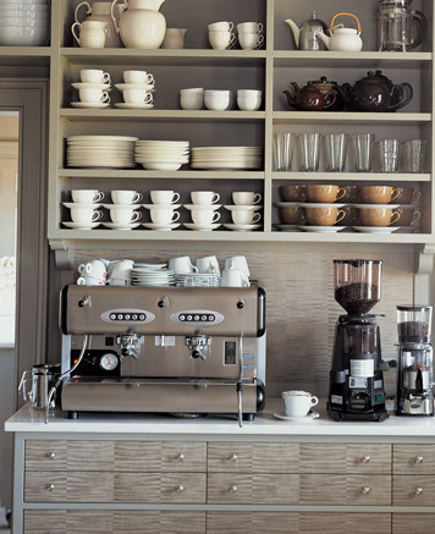 coffee bar in Martha Stewart's gray farm kitchen - Martha Stewart via Atticmag