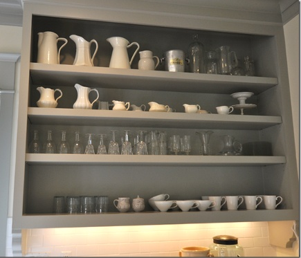 Open shelves a la Martha Stewart in Sally Wheat gray kitchen - Cote de Texas via Atticmag