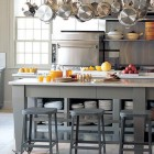gray kitchens - island in Martha Stewart's Bedford gray painted kitchen - Martha Stewart via Atticmag