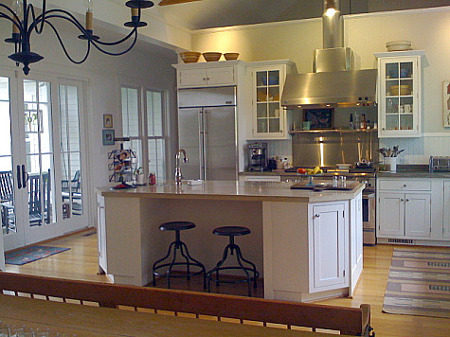 white kitchen with barn ceiling and concrete counters - M. Rutherford Atticmag