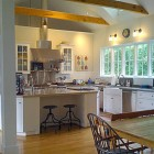white kitchen with barn ceiling and concrete counters - M. Rutherford via Atticmag