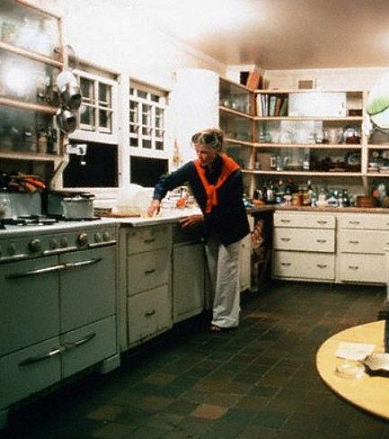 Actress Katharine Hepburn in her original Fenwick kitchen