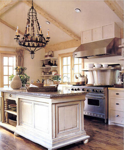 warm white kitchens - rustic warm white kitchen with custom island of assembled furniture -- Modern Country via Atticmag