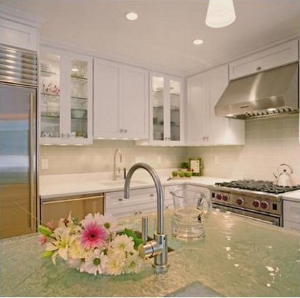 white kitchen trend - white kitchen with glass counters - via Atticmag
