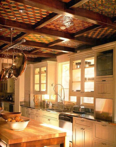 coffered tiled kitchen ceiling in a Wallace Neff house - Velvet and Linen via Atticmag