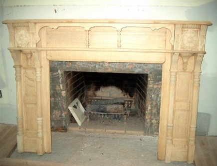 fireplace renovation - the salvage oak mantel after stripping and reassembly - Atticmag