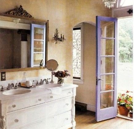 purple bathrooms - cottage bathroom with purple door - Country Living via Atticmag