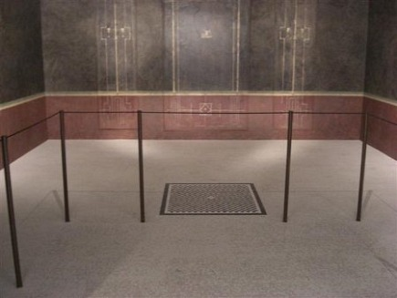 reconstructed black room from a Roman villa at the Metropolitan Museum in New York