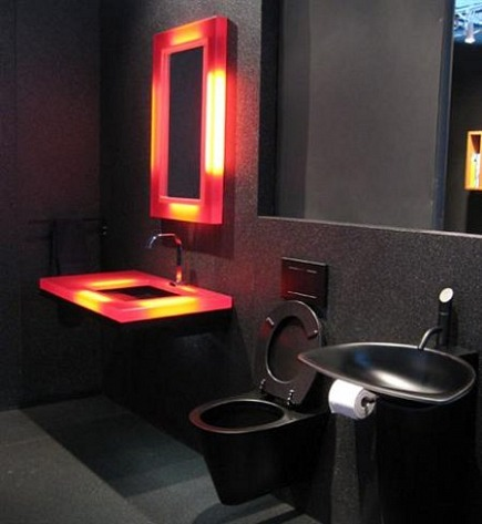 ultra modern black bathroom with black fixtures