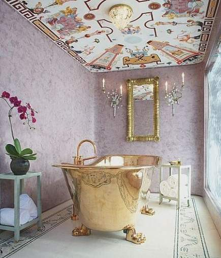 lavender fantasy bath with plaster walls and mural ceiling bathroom - Jessica Hall & Assoc. via Atticmag