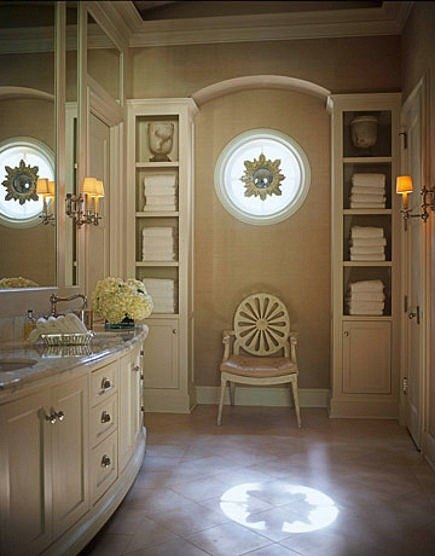 luxurious master baths - lavish towel storage and displays space - House Beautiful via Atticmag