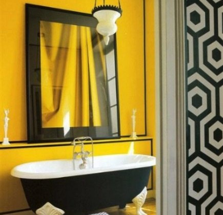 Good Eclectic Bath. Sunflower Yellow Bathroom With Black ...