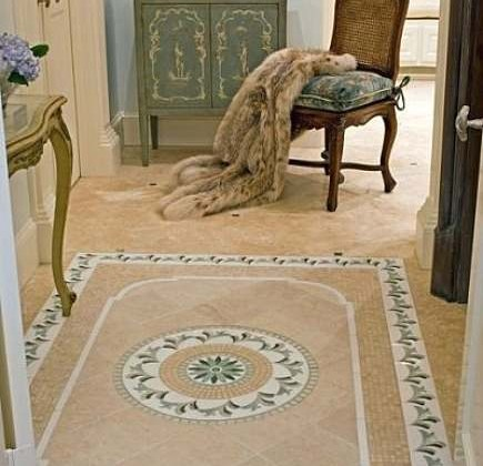 master bath retreat with tile area rugs from Mary Anne Smiley Interiors via Atticmag