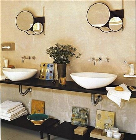 unfitted bathrooms - minimalist vanity with vessel sinks and storage below - Elle Decor via Atticmag