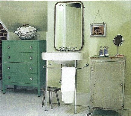 unfitted bathrooms - retro industrial bathroom with unfitted storage cabinets - Country Living via Atticmag