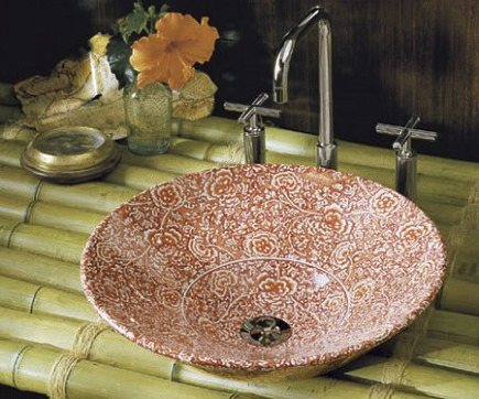 Kohler vitreous china garden bandana vessel sink on a bamboo shelf - Kohler via Atticmag