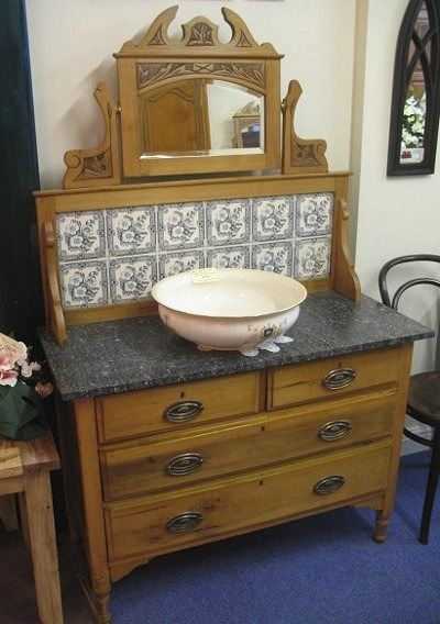 vessel sink - Victorian oak washstand with stone top and marble backsplash - Atticmag