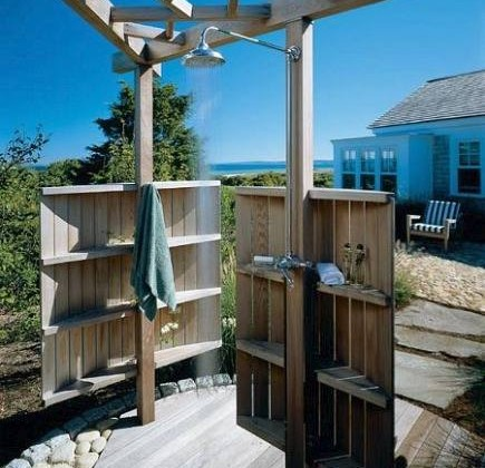 outdoor shower with rain head shower - Hutker Architect via Atticmag