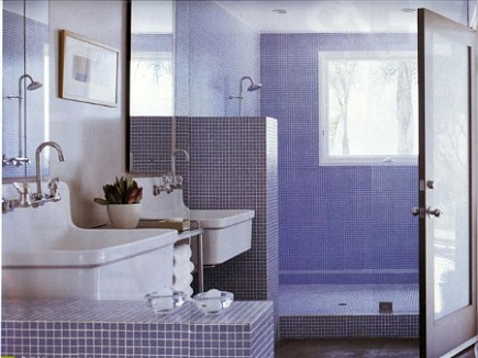 bathroom sinks - two Kohler Gilford sinks in a master bathroom spa in Richard Neutra house - Met Home via Atticmag