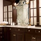 library style bathroom - custom wood built-in library style bathroom cabinets by Robert Passal via Atticmag