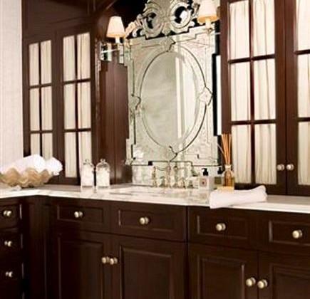 library style bathroom - custom wood built-in library style bathroom cabinets by Robert Passal via Atticmag