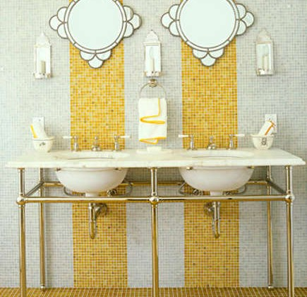 yellow Waterworks mosaic stripes on a bathroom wall - House Beautiful via Atticmag