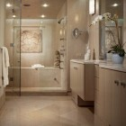 turkish mosaic - monochromatic limestone master bath with tub shower combo room - John Robert Wiltgen via Atticmag