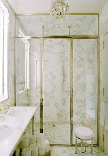 wet rooms - marble luxury master bathroom with glass enclosed shower - Nathan Egan via Atticmag