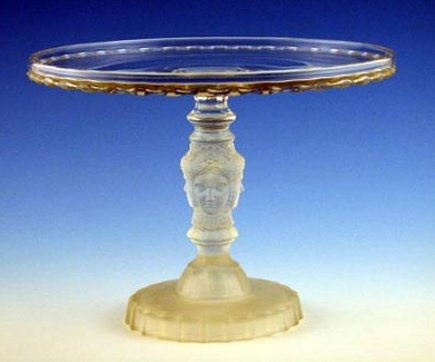 glass cake stands - antique Duncan three-face cake stand - Seymour Auctions via Atticmag