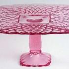 glass cake stands - LE Smith Glass company pink trellis cake stand - via Atticmag
