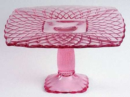 glass cake stands - LE Smith Glass company pink trellis cake stand - via Atticmag