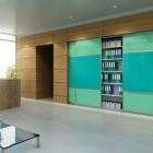 closet sliding doors with aluminum frame - SD6 design in green and turquoise - Armadi Closets via Atticmag