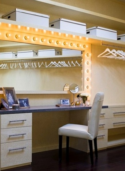 closets - closets - interior of a room size closet with front lit dressing table and skylight designed by Lori Dennis via Atticmag