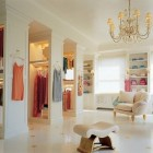 clsets - Mariah Carey's open closet with chandelier designed by Mario Buatta - AD via Atticmag