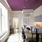 colorful ceilings - purple ceiling in a white dining room by Sara Story - via Atticmag