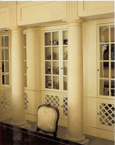 lattice walls - lattice door panel details on the doors of built in dining room cabinets by Henri Garelli - WOI via Atticmag