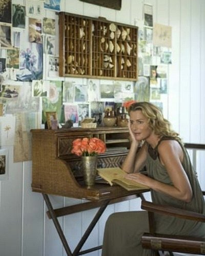 picture wall with India Hicks at her desk at her home in the Bahamas - casasugar via Atticmag