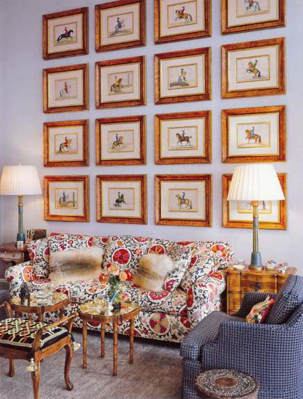 picture wall sets - 16 equestrian prints on a picture wall -AD via Atticmag