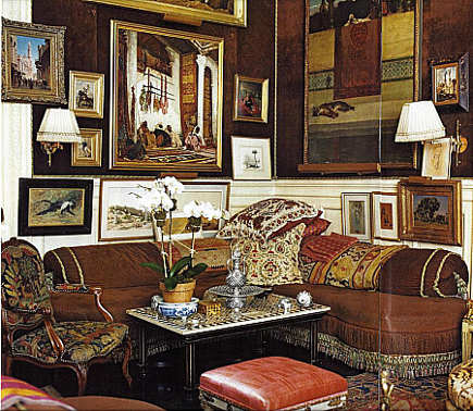 corner picture walls - exotic picture wall in the corner of Kenneth Jay Lane's apartment - Domino via Atticmag
