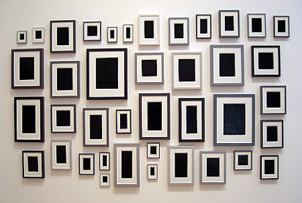 picture wall ideas - black and white art that looks like a picture wall at MOMA - Atticmag