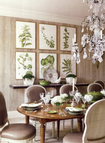 picture walls - picture wall of botanical prints in a dining room hung to fill space over the console table in odd numbers and even rows - Veranda via Atticmag