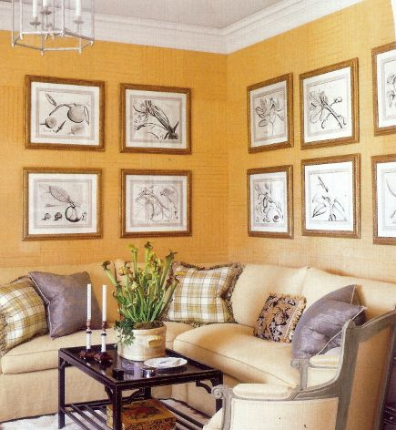 picture walls - pictures hung on adjoining walls in two rows