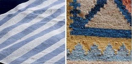dhurries - detail of dhurrie rugs - via Atticmag